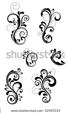 Floral patterns for design isolated on white. Vector version also available in gallery - stock photo