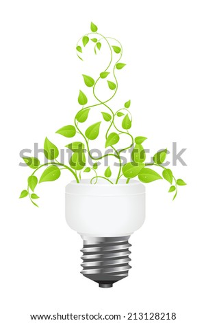 Floral power saving lamp. Isolated on white background.