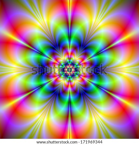 Floral Psychedelia / Digital abstract fractal image with a flower design in blue, pink, blue and yellow.