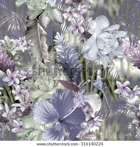 Floral realistic pattern seamless. Tropical pattern of exotic plants and divers flowers: Alpinia, Hibiscus, plumeria, frangipani, banana leafs, palm leaf. Photo collage on a striped backdrop - stock photo