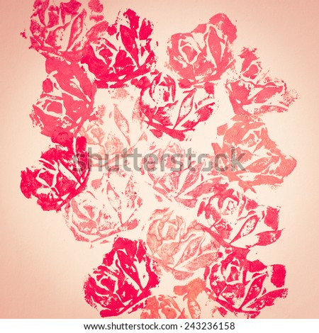 Floral (rose) hand-made printed background/decoration