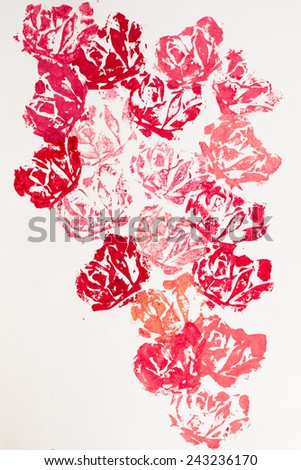 Floral (rose) hand-made printed background/decoration - stock photo