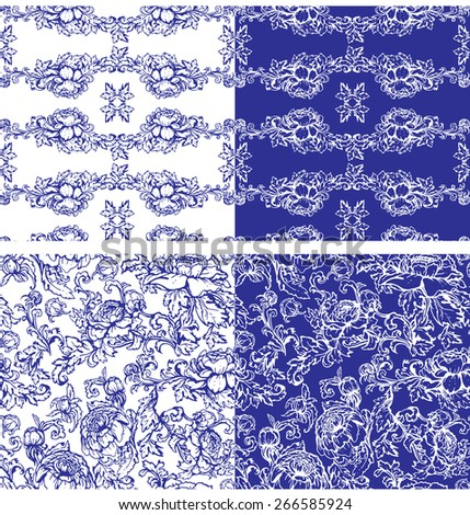 Floral seamless background in white and blue colors. Handdrawn Flowers. Raster version - stock photo
