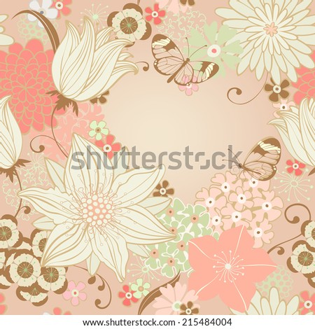 Floral seamless background with lily and butterfly. Place for your text in heart shape. Raster version of vector illustration. - stock photo