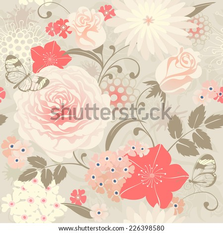 Floral seamless background with roses and butterflies. Raster version.