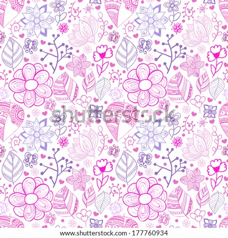 Floral seamless pattern background with flowers. Doodles ornament theme for your design