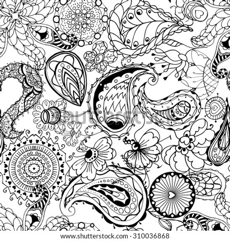 Floral seamless pattern background with leaves. Doodles ornament