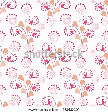 Floral seamless pattern , cute cartoon flowers white background