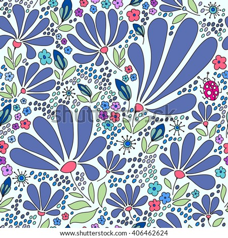 Floral seamless pattern. Elegant flowers, leaves, bugs and stones on a white background, hand drawn background . - stock photo