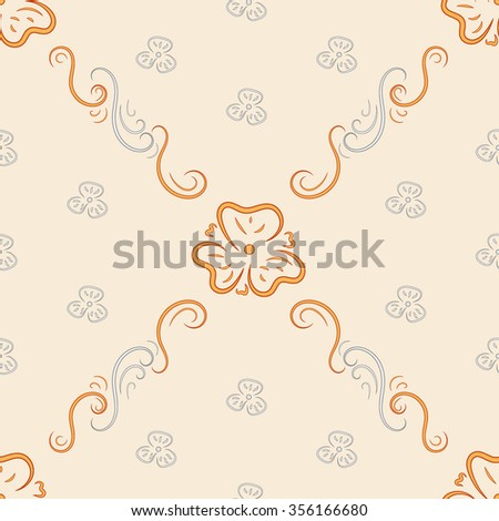 Floral seamless pattern. Fashionable retro background from ornate ornament. Graphic style with flowers for wallpaper, wrapping, fabric, background design, apparel and other print production.