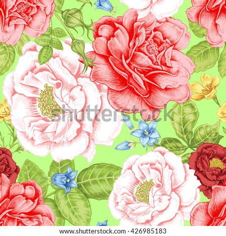 Floral seamless pattern. Flowers roses, peonies. Design paper, wallpaper, cards, invitations, packaging, textiles, interior decoration, upholstery fabrics. Victorian.