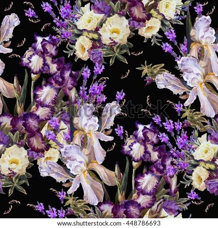 Black white and purple flower backgrounds wiring diagrams floral seamless pattern garden flowers iris white stock illustration rh shutterstock com flower frame wedding pink mightylinksfo