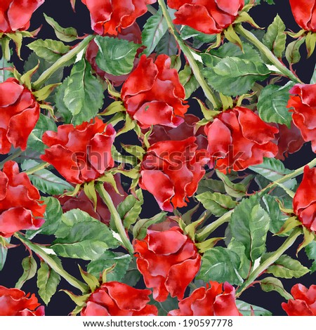 Floral seamless pattern on a black background - stock photo