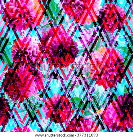 Floral seamless pattern on a rhombus geometric background. Red flower dahlia on a colorful srttipes ornament. Artistic CLIP ART - photo collage for fashion. - stock photo