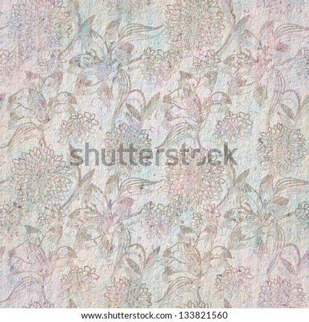 Floral seamless pattern on paper texture - stock photo