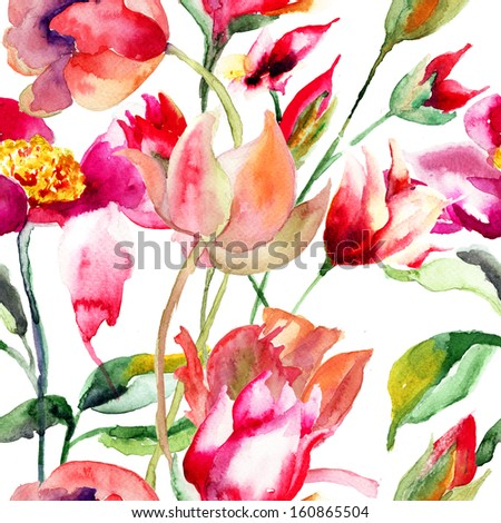Floral seamless pattern, watercolor illustration  - stock photo