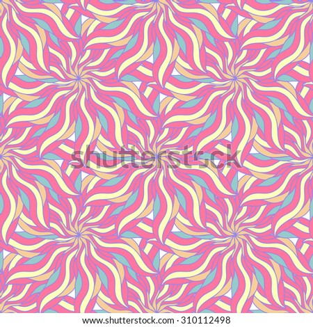 Floral seamless pattern with abstract flowers. Doodle endless background. Fashion swatch - stock photo