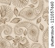 Floral seamless pattern with doodle flowers and paisley, illustration - stock photo