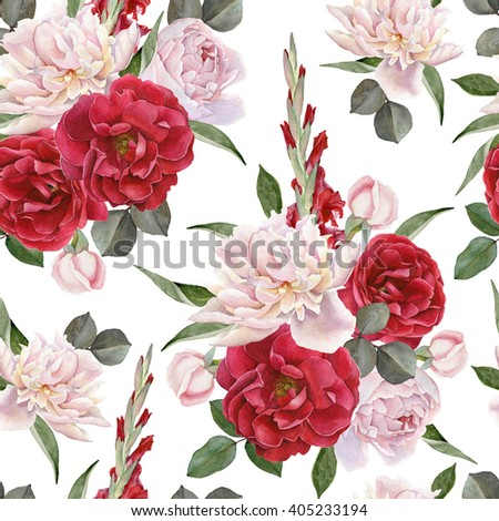 Floral seamless pattern with hand drawn watercolor roses, white peonies and gladiolus flowers - stock photo