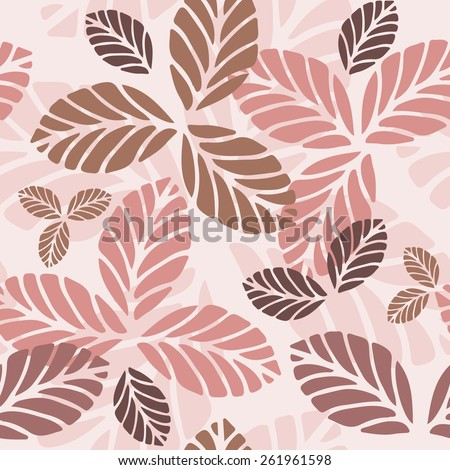 Floral seamless pattern with leaves. Raster version - stock photo