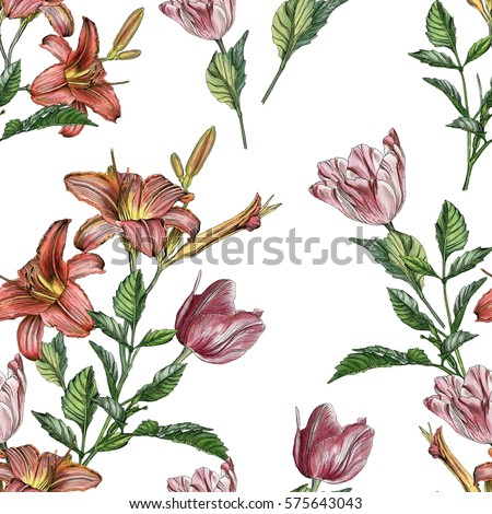 floral seamless pattern with watercolor lilies and tulips