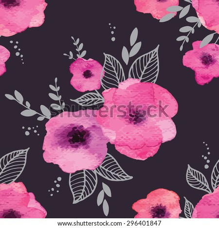 Floral seamless pattern with watercolor pink flowers