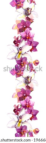 Floral seamless strip border with exotic flowers orchid. Watercolour - stock photo