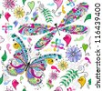 Floral seamless valentine pattern with colorful butterfly and dragonfly and hearts - stock vector