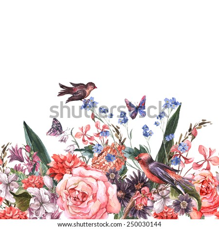 Floral seamless watercolor border with roses, hyacinths,butterfly, wild flowers and birds in vintage style, watercolor illustration. - stock photo