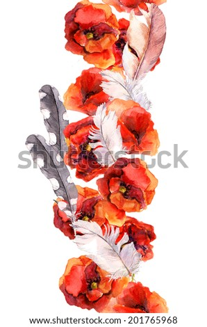 Floral seamless watercolor frame border with vivid flowers poppy and feathers. Aquarel - stock photo