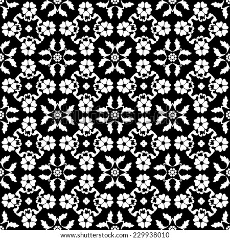 Floral seamless white pattern on a black background