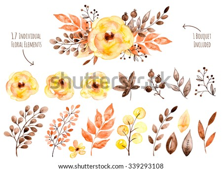 Floral set.Colorful yellow floral collection with leaves and flowers,drawing watercolor.Colorful floral collection with flowers+1 beautiful bouquet.Set of floral elements for your compositions. - stock photo