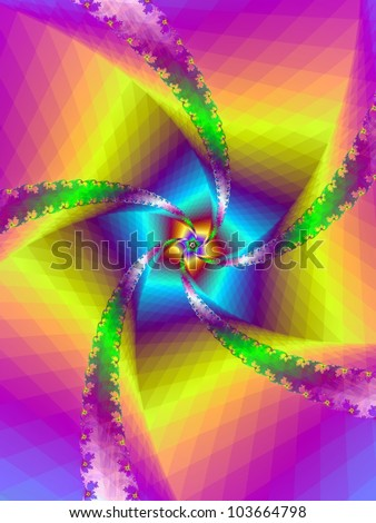 Floral Spiral/Digital abstract image with an floral spiral design in yellow, blue, green and purple - stock photo