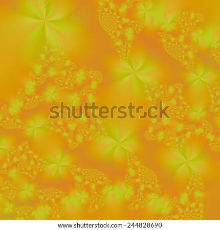 Floral Spirals in Orange and Yellow / An abstract fractal image with a floral spiral design in orange and yellow. - stock photo