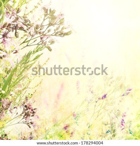 Floral spring easter holiday background with copyspace - stock photo