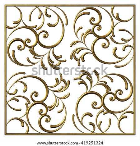 Floral square swirl pattern from 3d ornamental scrolls and curl. Vintage decorative elements - stock photo