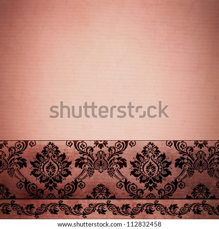 floral stationary template in vintage rose rust color, with texture and damask border - stock photo