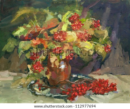 floral still life oil painting - stock photo
