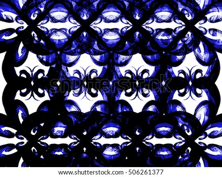 floral style smoke blue line ornament background, abstract ornament backdrop