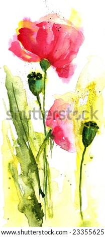 Floral summer design with hand-painted abstract flowers in rose colors on white background. Art is painted and created by photographer. - stock photo