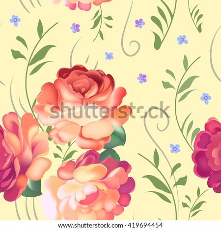 Floral textile seamless pattern in Russian Zhostovo style. Russian traditional ornament. JPG version. - stock photo