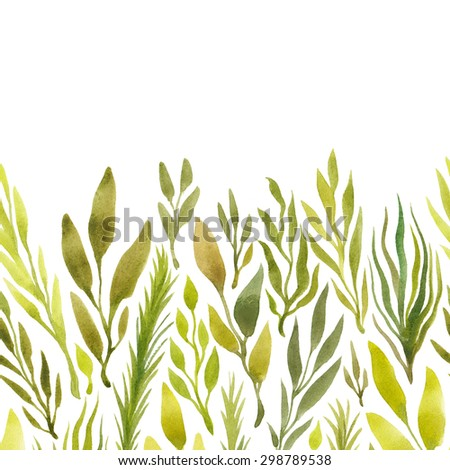Floral texture with herbs and branches. Watercolor bright hand painted background. Template for your design