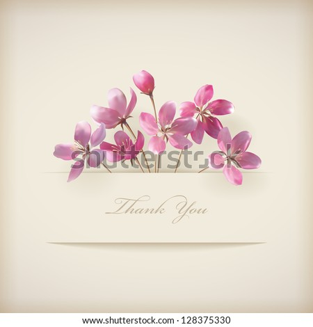 Floral 'Thank you' card with beautiful spring pink flowers and banner on a beige elegant background in modern style. Perfect for wedding, greeting or invitation design. Vector file in my portfolio