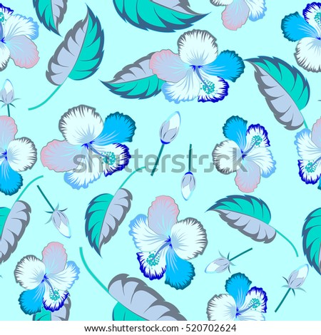Floral. Various blue hibiscus hawaiian tropical flowers.