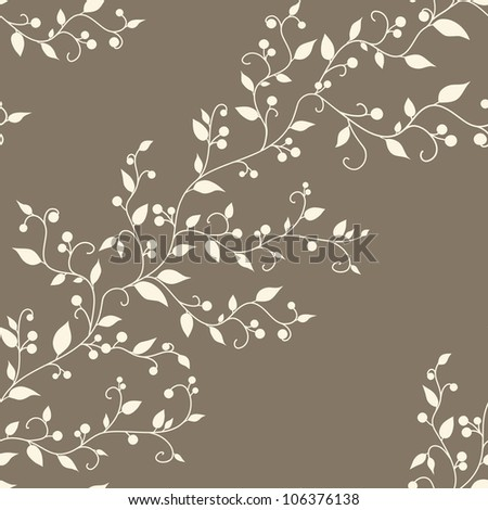 Floral vector vintage seamless pattern with leaves and berries - stock photo