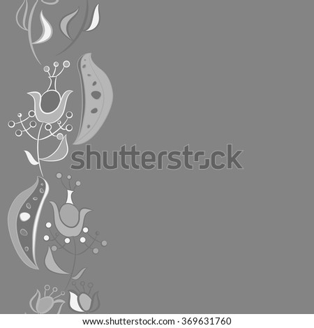 Floral vertical pattern, doodles,  branches, leaves, spots, seamless. Hand drawn.
