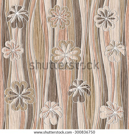 Floral wallpaper - waves decoration - seamless background - Blasted Oak Groove wood texture - stock photo