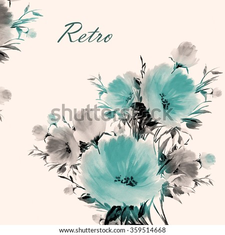 Floral watercolor bouquet of delicate flowers-4 . Beautiful floral background of watercolor sketches for the design and decoration. Vintage. - stock photo