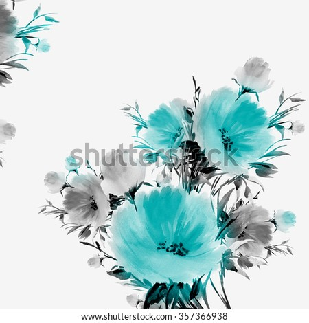 Floral watercolor bouquet of delicate flowers . Beautiful floral background of watercolor sketches for the design and decoration - stock photo