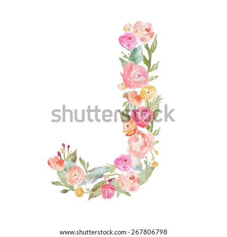 S Alphabet In Flowers ... Letters on Isolated White Background. Alphabet Letter Made of Flowers